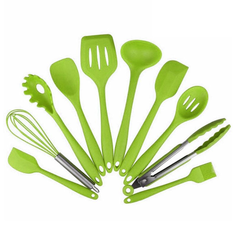 10Pcs Kitchen Utensil Set Silicone Heat Resistant Kitchen Cooking Utensils Non-Stick Pot Baking Cooking Various Kitchenware Tool