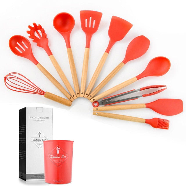 Silicone Cooking Utensils 11Pcs Kitchen Utensil Set Non-stick Spatula Wooden Handle With Storage Box Kitchen Tools Kitchenware