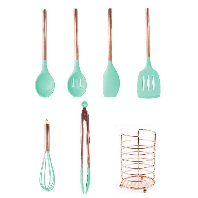 6/7 Pcs Silicone Kitchen Spatula Set,Cooking Utensils Sets with Rose Gold Handle Silicone Kitchen Tools Non-stick Kitchenware