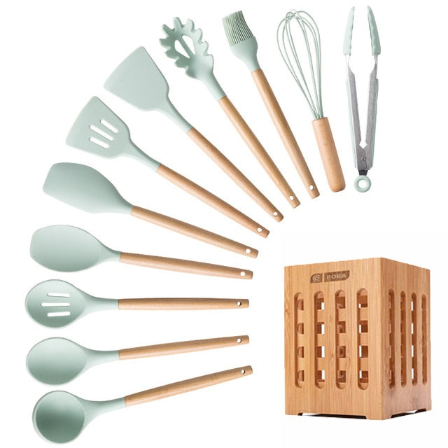 11/12/13 PCS-Kitchen Utensils Set-Silicone Cooking Utensils Non-stick kitchenware Spatula Spoons Wooden Kitchen Tool Set / Blue