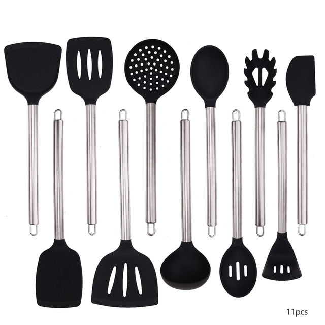 Silicone kitchen utensils set Non-stick Cookware Cooking Tool  Spatula Shovel Spoon new Stainless Steel Handle Kitchenware