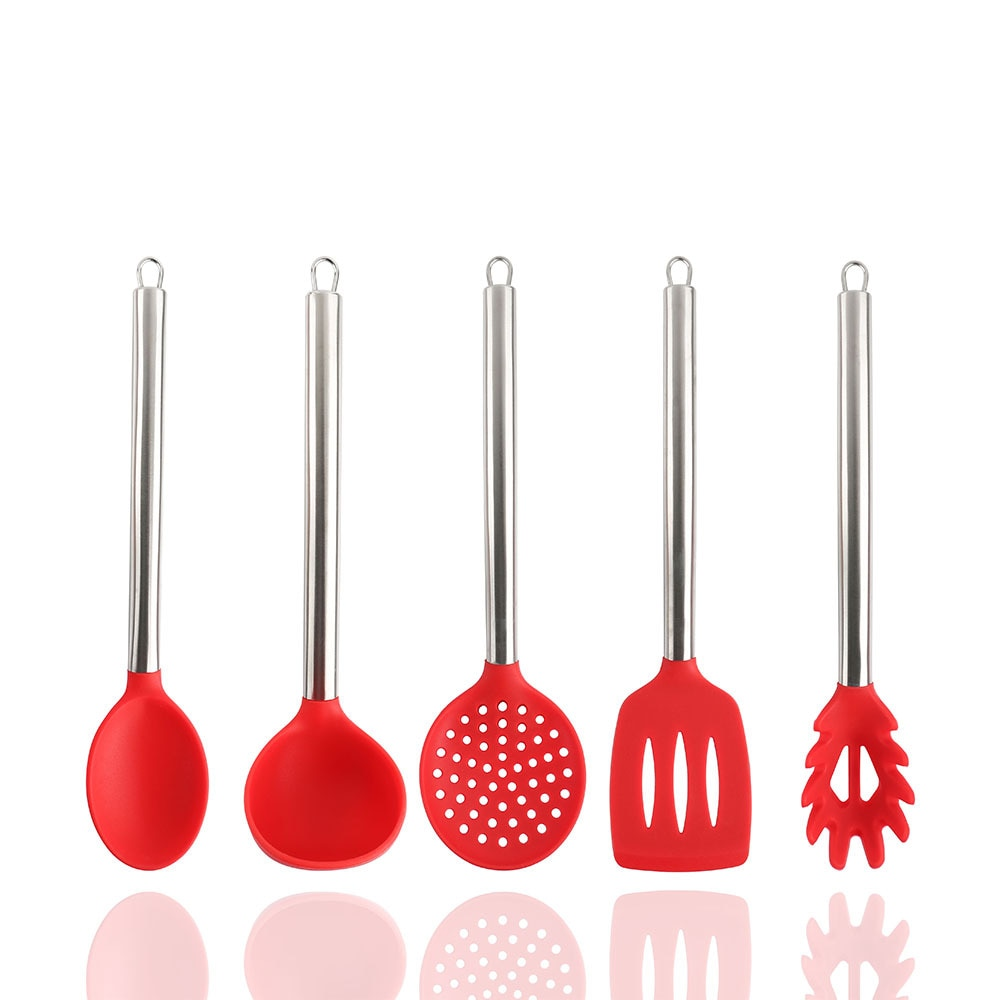 5pcs Silicone Cooking Utensils Set Non-Stick Silicone Spatula Shovel Spoon With Stainless Steel Handle Kitchenware Kitchen Tools