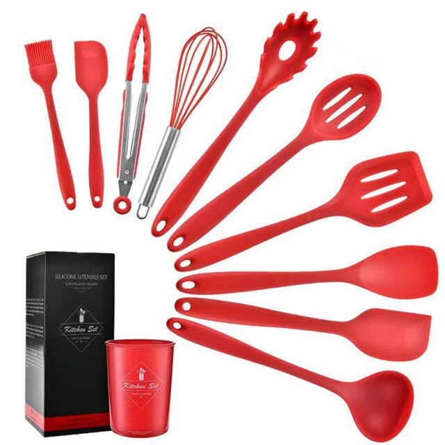 Silicone Kitchenware Non-Stick Cookware Cooking Tools Spatula Ladle Egg Beater Shovel Spoon Soup Kitchen Utensil Set 11PCS