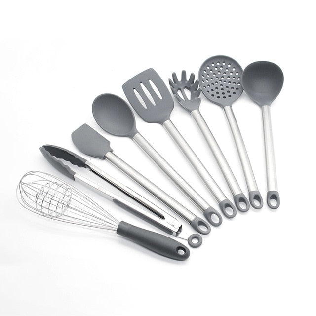 9PCS Kitchen Utensils Set Silicone Kitchenware Cooking Utensils Set Stainless Steel Handle Nonstick Spatula Kitchen Accessories