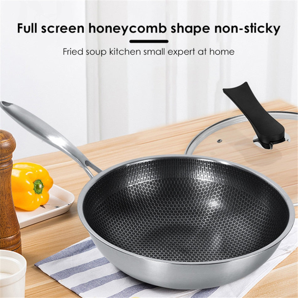 Stainless Steel Wok Non-stick Pan Full Screen Honeycomb Design No Lampblack No Coating Frying Pan Kitchen Tools Kitchenware New