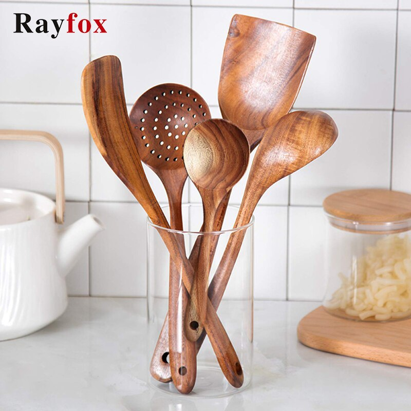 Thailand Non-Stick Wooden Kitchenware Cooking Utensils Set Heat Resistant Rice Spatula Strainer Spoons Kitchen Cooking Tools Set
