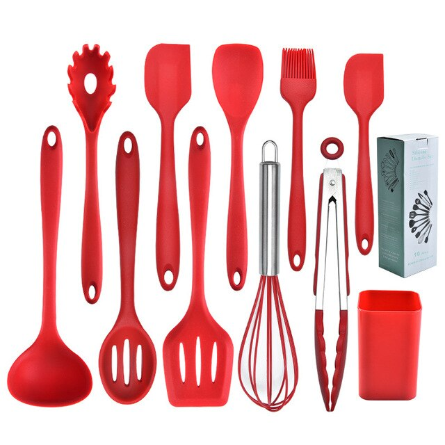 GEEKHOM Silicone Cooking Utensils Set  Kitchenware Heat Resistant Kitchen Non-Stick  Utensils Baking Tools