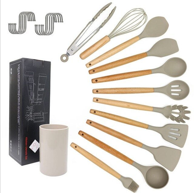 11pcs Silicone Cooking Utensils Set Kitchenware with Wooden Handle Non-stick Insulation Design Cooking Spoon Shovel Tool Gifts