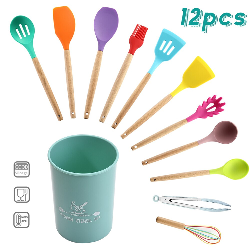 12pcs Colorful High Temperature Resistance Silicon Kitchenware Set Non-stick Pan Cooking Spatula Spoon Wooden Handle with bucket