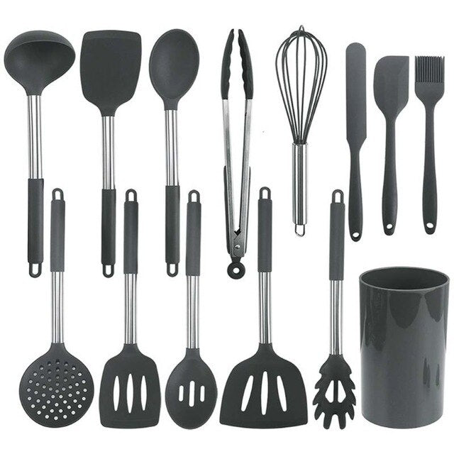 14Pcs/Set Non Stick Silicone Kitchen Cooking Utensils Spatula Spoon Egg Beater Non-toxic Cookware Kitchenware Kit