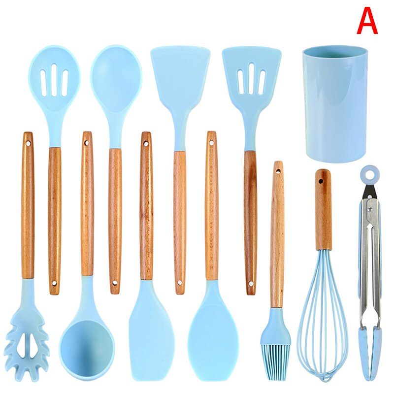 9/10/11/12Pcs Blue Silicone Kitchen Utensils Set Heat Resistant Nonstick Baking Cooking Tools Kitchenware Accessories