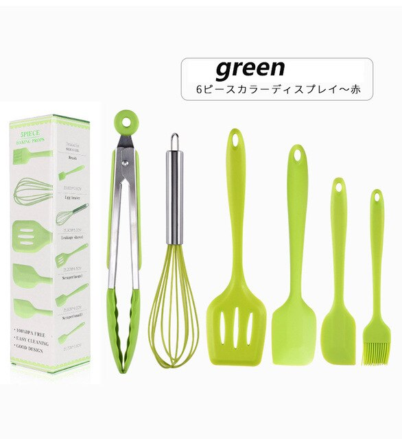 Nordic  Six-piece Silicone Kitchenware Household Organic  Spatula Spatula Kitchen Accessories Set Cake Cooking Tools