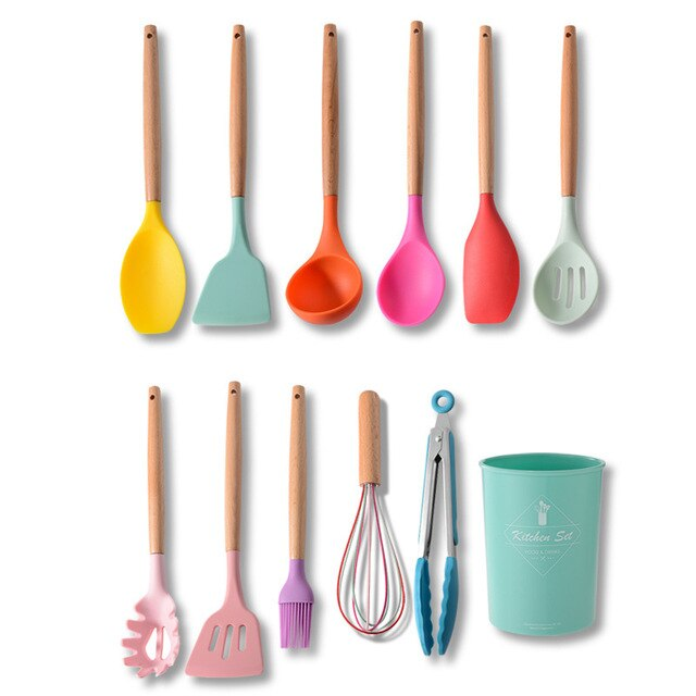 12Pcs Colorful Silicone Kitchenware Cooking Utensils Set Wooden Handle Non-Stick Spatula Ladle Shovel Egg Beaters Kitchen Tools