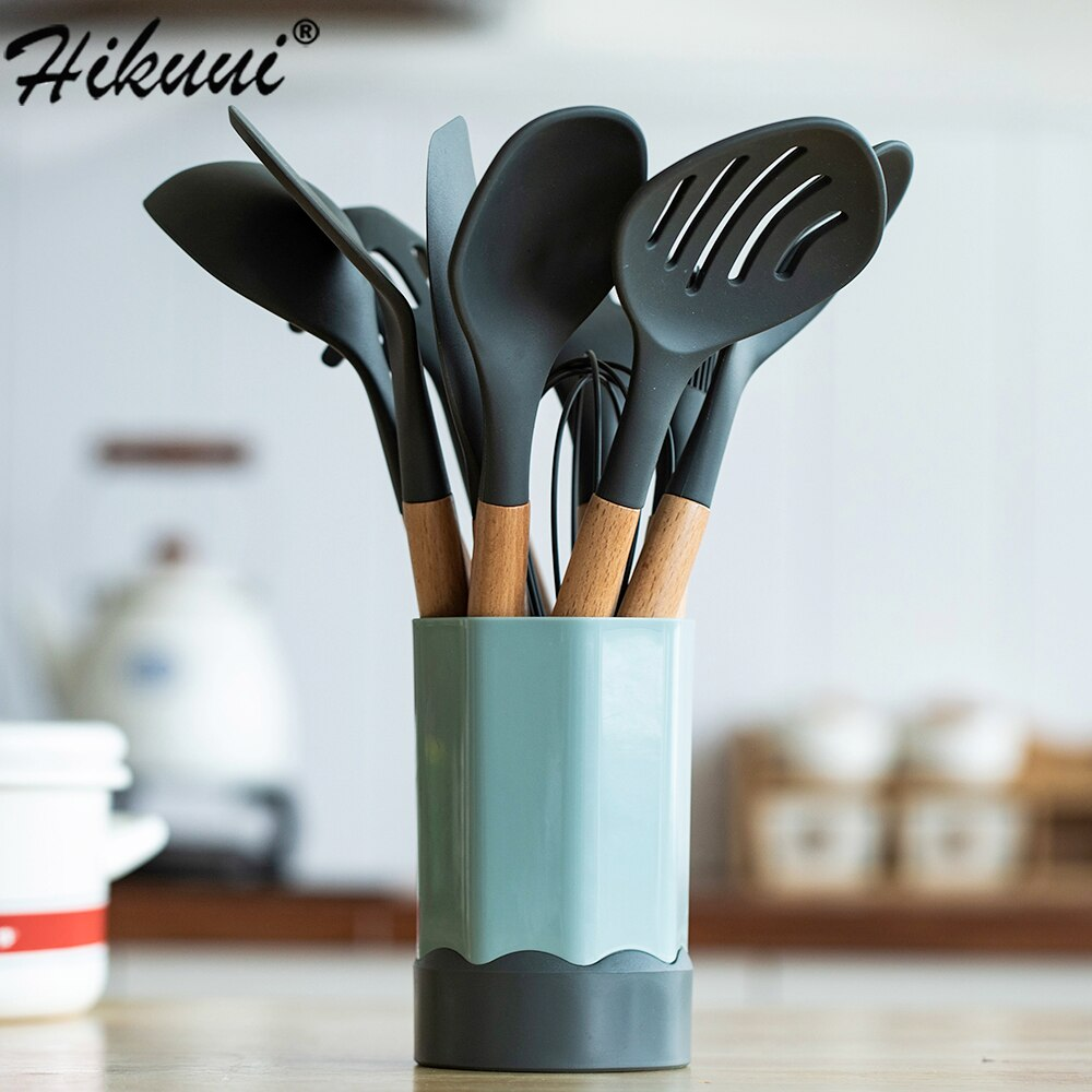 Silicone Kitchen Cooking Utensils Set Anti-slip Wood Handle Cooker with Storage Bucket Spoon Tuner Ladle Creative Kitchenware