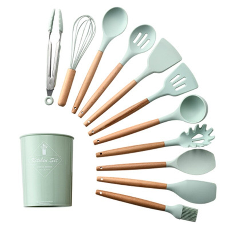 11PCS Silicone Kitchenware Cooking Utensils Set Heat Resistant Kitchen Non-Stick Cooking Utensils Baking Tools With Storage Box