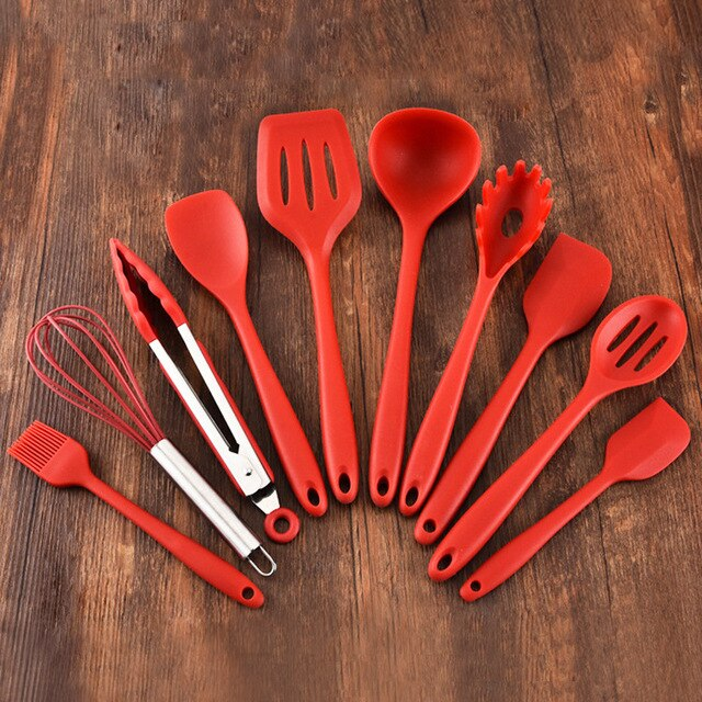 10 PCS Kitchenware Set slotted turner ladle spoon 2 spatulas spaghetti server slotted spoon baking blush food tongs whisk
