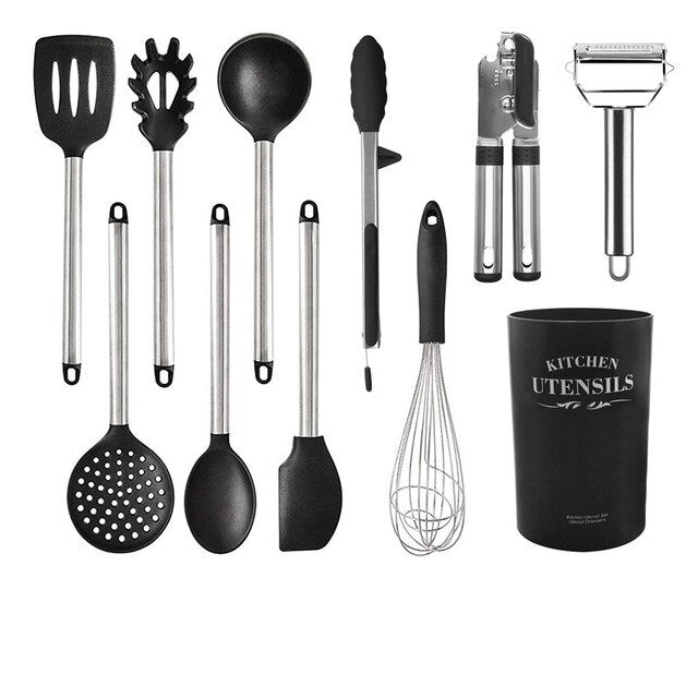 Silicone Kitchen Utensils Cooking Set Heat Resistant Kitchenware with Spatula Whisk Ladle Tongs Stainless Steel Bakeware Baking