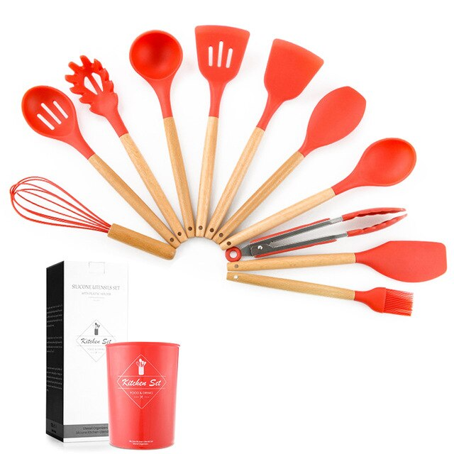 Resistant Silicone Durable Practical Heat Kitchenware Kitchen Tool Cookware Sets Wooden Handle DC112