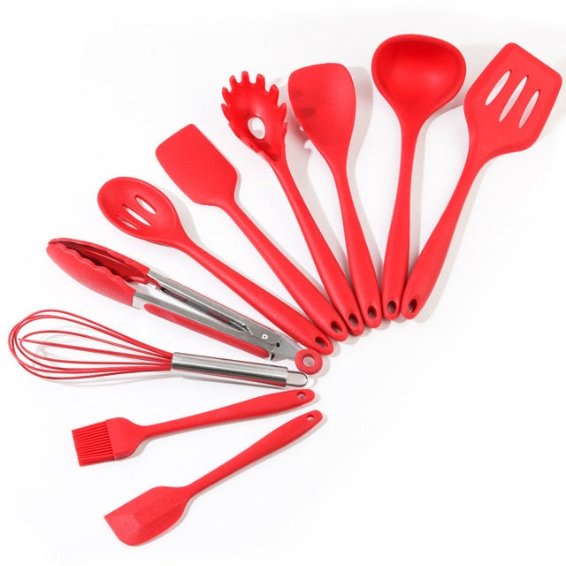10pcs Silicone Kitchenware Cookware Set Heat-resistant Kitchen Non-stick Cookware Baking Tools Cooking Tools Package