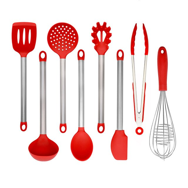 GESEW Silicone Kitchenware Set with Wooden Handle Heat Resistant Non-stick Cookware Spatula Shovel Soup Spoon Kitchen Accessorie