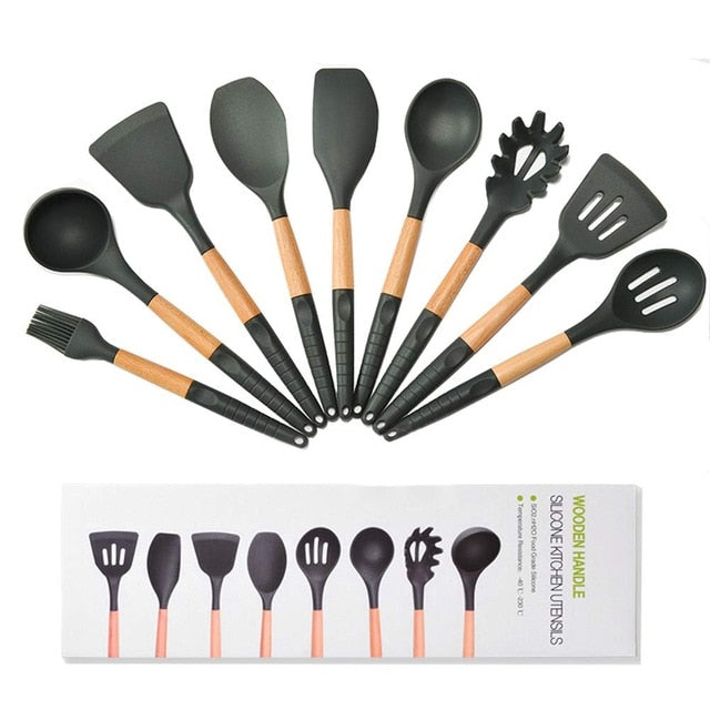 New 9/11Pcs Wooden+Silicone Kitchen Set Accessories Cooking Utensils Tools Set with Turner Tongs Spatula Spoon Kitchenware Black