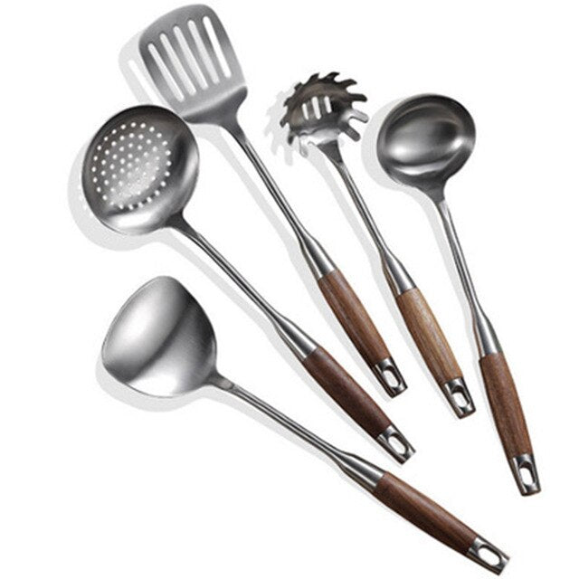 5Pcs/Set Wood Handle Stainless Steel Cooking Tool Sets Spoon Turner Pasta Server Kitchenware Kitchen Utensil Accessory Cookware