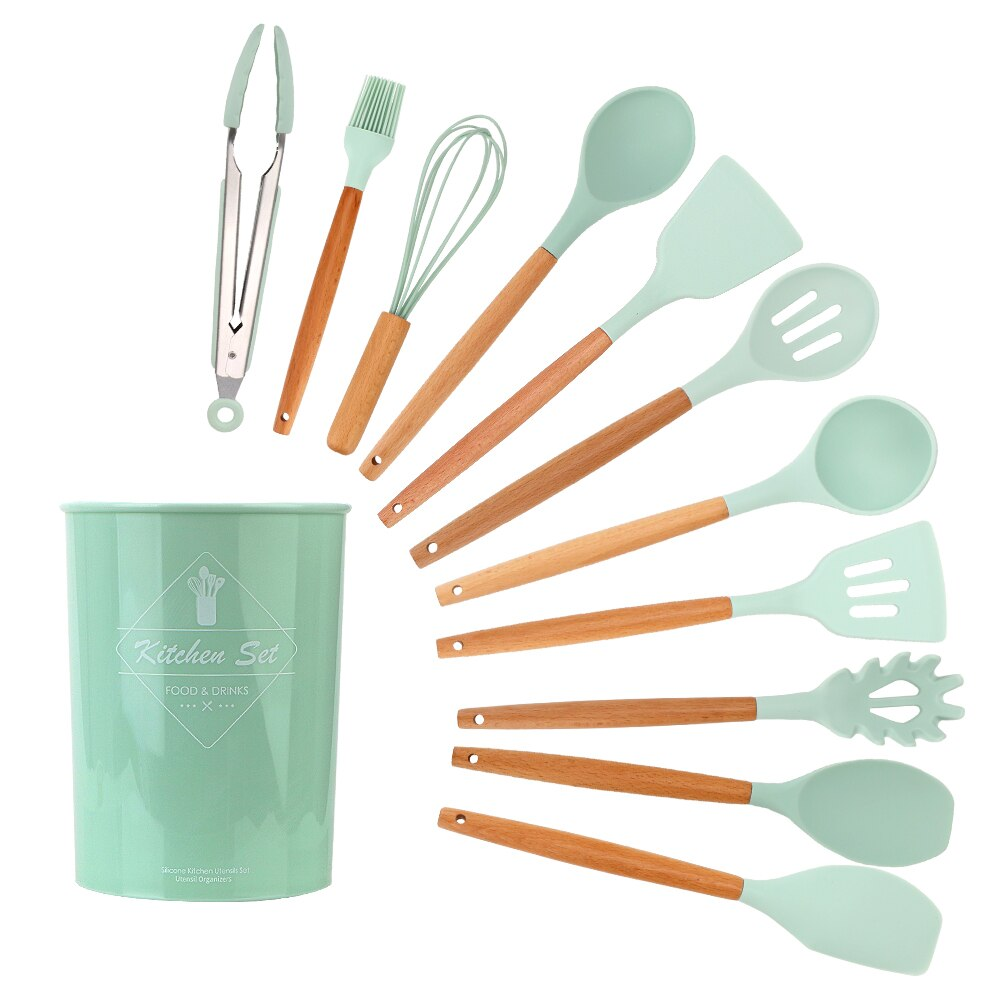 NICEYARD 12Pcs/set Kitchenware Set Wooden Handle Silicone Cooking Tools Kitchen Utensil Set Household Accessories