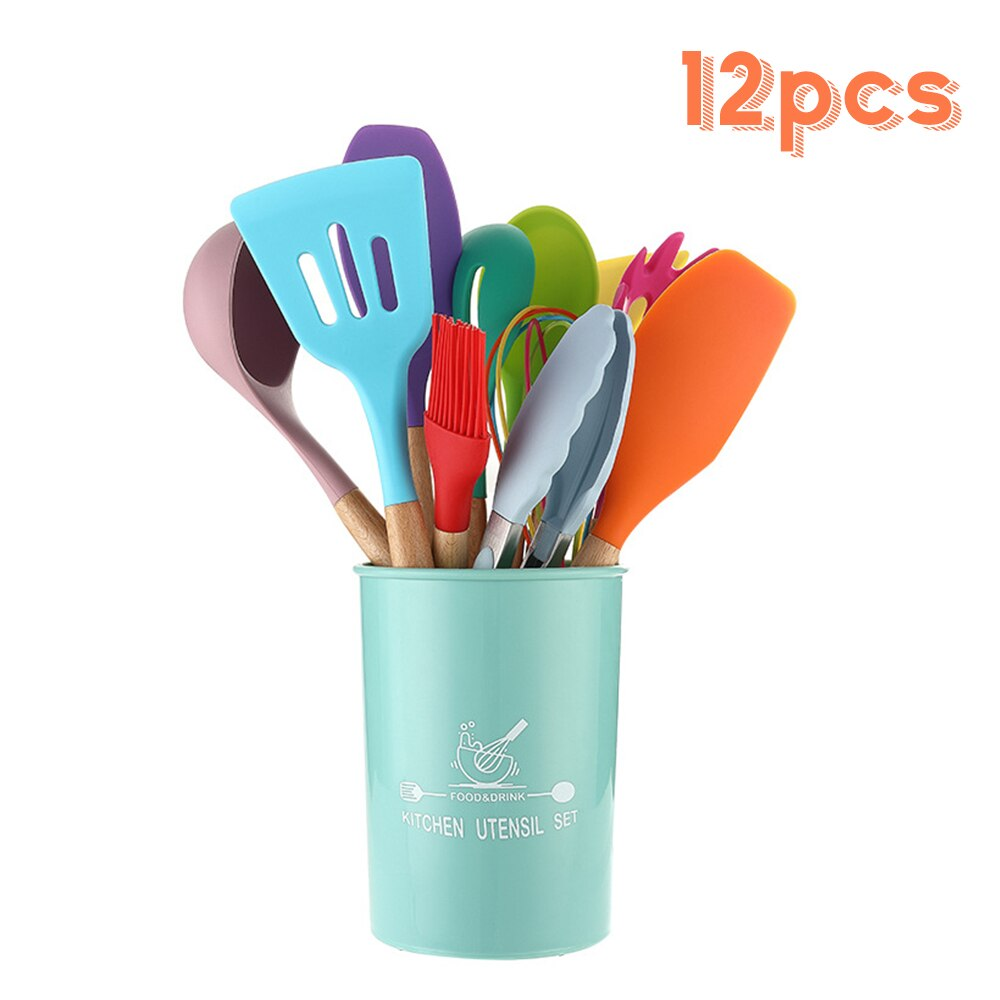 12pcs Colorful Kitchenware High Temperature Resistance Silicone Kitchenware Wooden Handle Set Non-stick Spoon Cooking Utensils