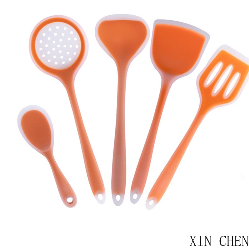 Environmental protection Silicone Kitchenware Non-stick Cookwarre Cooking Tool Spatula Ladle  Shovel Spoon Soup Kitchen Utensils