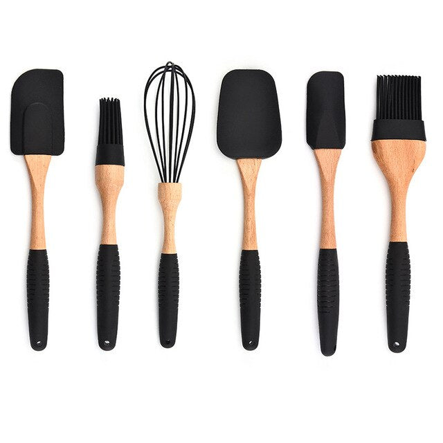 Silicone Kitchenware Wood Turner Soup Spoon Spatula Brush Bake Scraper Pasta Server Gloves Egg Beater Black Kitchen Cooking Tool