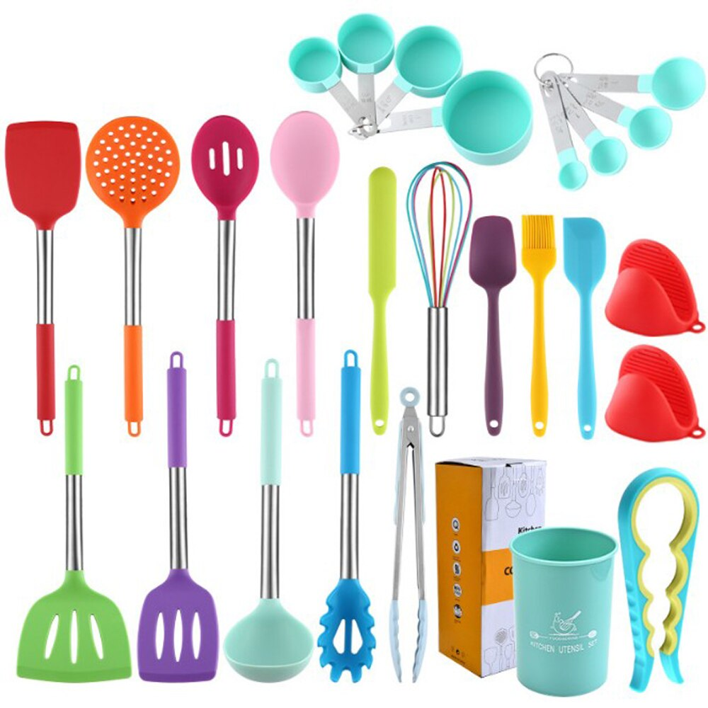 20 pieces/set Non stick cooking spoon shovel set stainless steel color kitchenware silicone kitchenware set