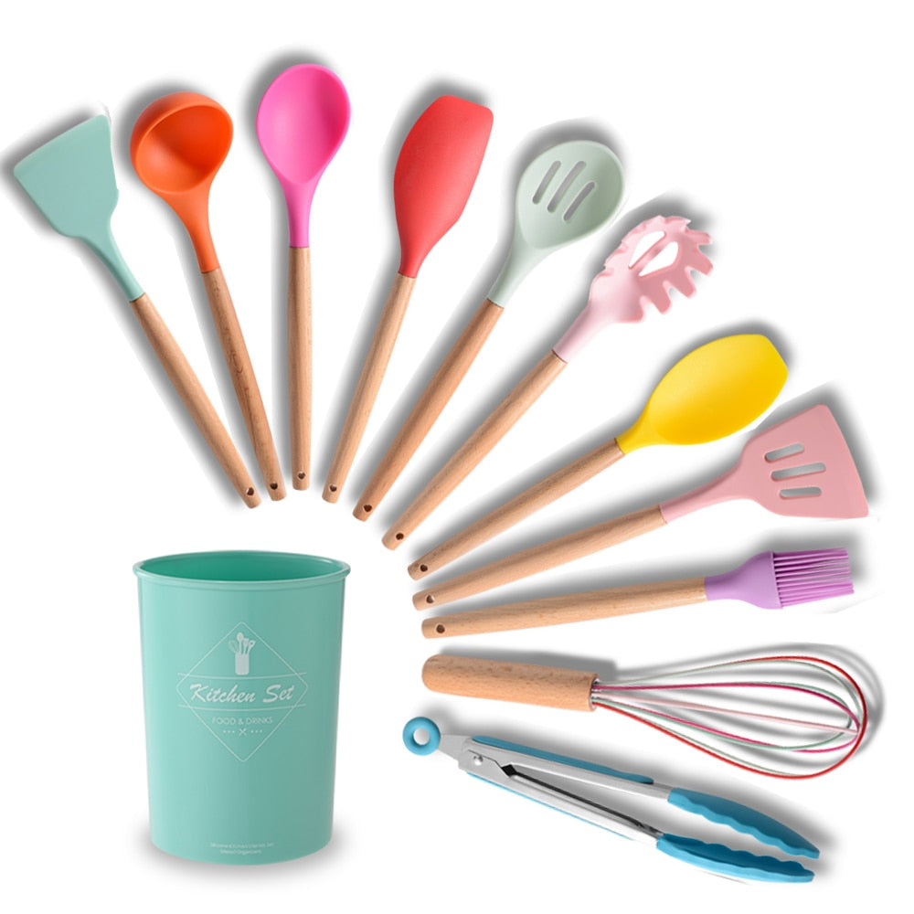 11Pcs Silicone Kitchenware Set Wood Handle Turner Soup Spoon Spatula Brush Scraper Pasta Server Egg Beater Kitchen Cooking Tools