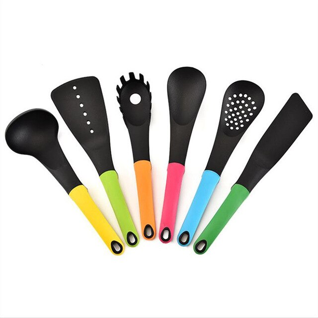 6 Pcs/Set  Non-stick Colorful Cooking Utensils Nylon Kitchenware Nonstick Spoon high temperature resistant kitchen spoon tool