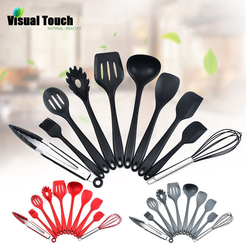 Visual Touch 10PCS Silicone Kitchenware Set Non-stick Cookware Cooking Tool Spatula Ladle Shovel Spoon Soup Kitchen Utensils Set