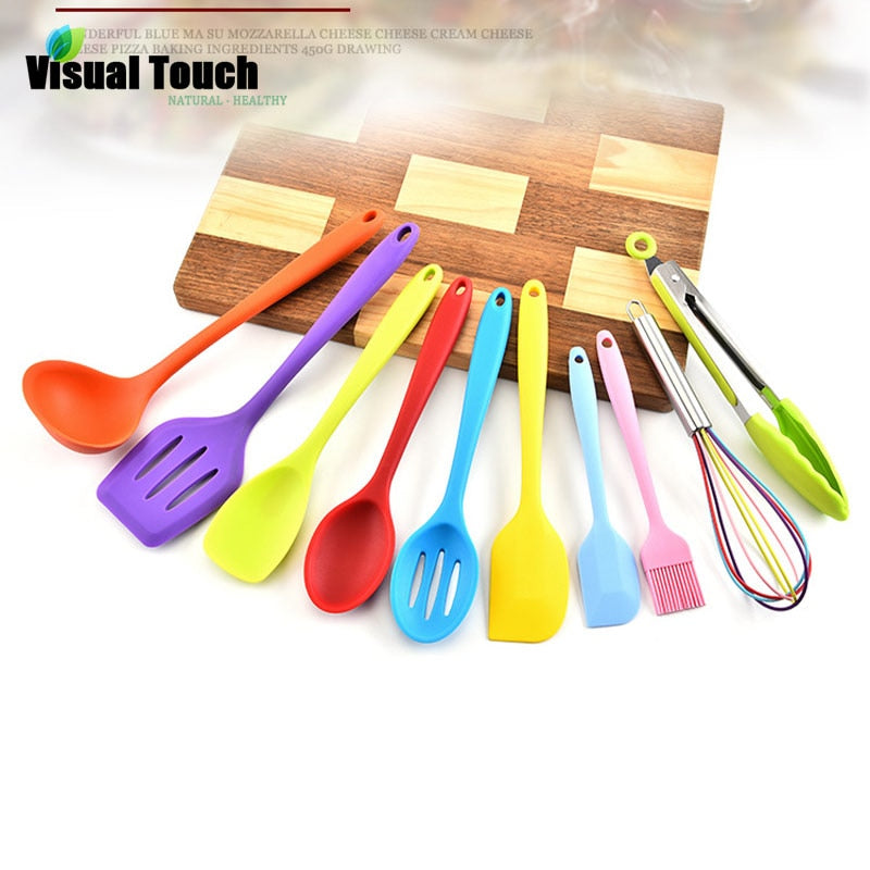 Heat Resistant 10PCS Colorful Silicone Kitchenware Set Non-stick Cookware Cooking Tool Baking Kit Utensils Kitchen Accessories