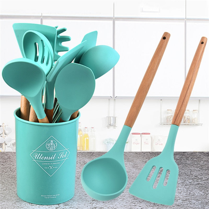 Silicone Kitchenware Set Heat-resistant Kitchen Nonstick Cookware 11pcs/set Kitchen Cooking Accessories Baking Tool Set