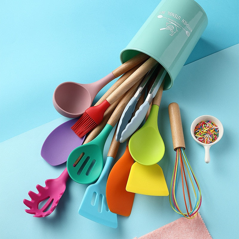 Wooden Handle Silicone Kitchenware Set Heat Resistant Non-stick Multicolor Cooking Kitchen Gadgets Tool Cookwar Accessories Good