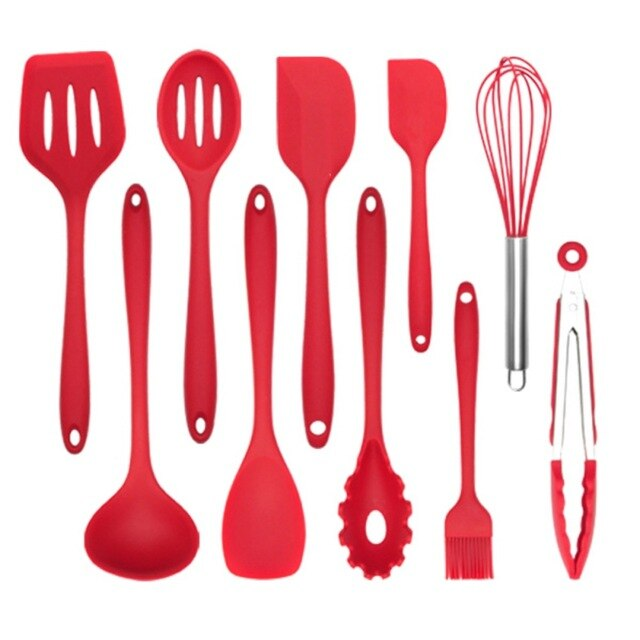 10/11pcs/set Silicone Kitchenware Set High Temperature Nonstick Cookware Spatula Comfortable with Hanging Holes Kitchen Tools 1