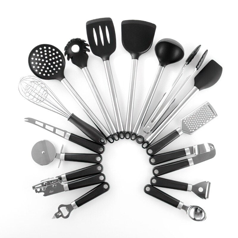 Stainless Steel Silicone Kitchenware Set Black Frying Spatula Soup Spoon Corkscrew Household Kitchen Tools Cooking Supplies