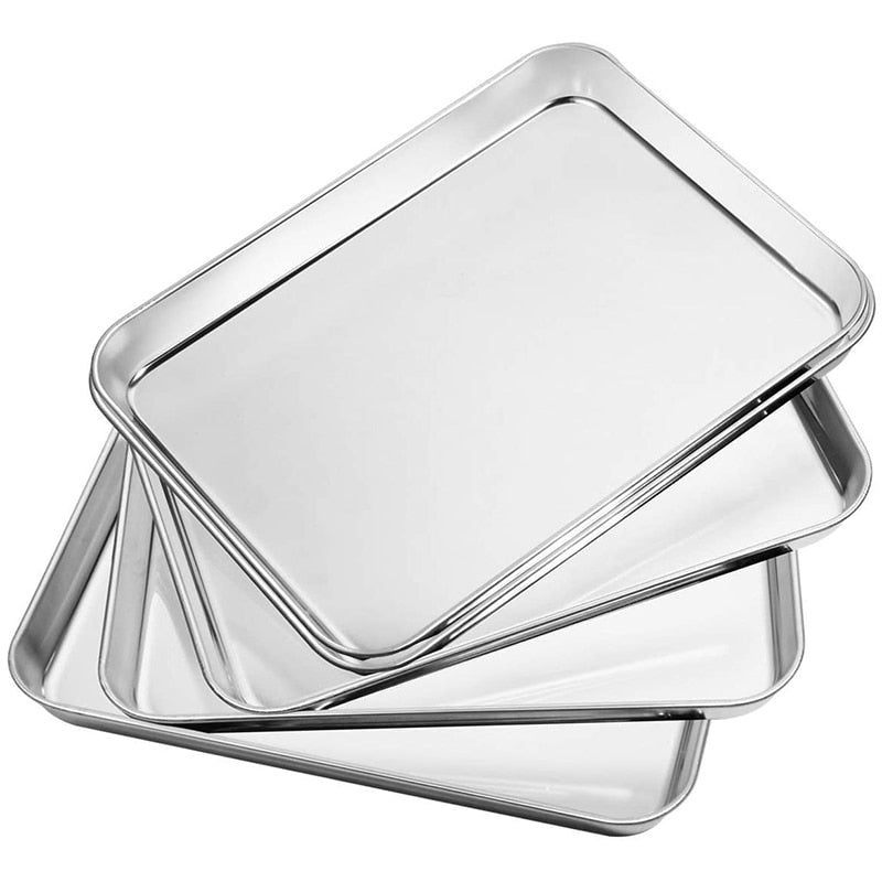Bakeware, Set of 5 Pieces, Square Dish Cooking Tray Fruit Pastry Barbecue Tray Stainless Steel Baking Tray Tray Cookie, Size 10