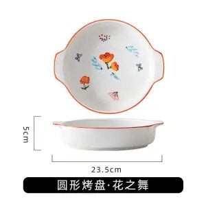 Bakeware Ceramic Microwave Oven Special Plate Household Baking Rectangle Binaural Japanese Creative Fruit Bowl Plate Cake Baking