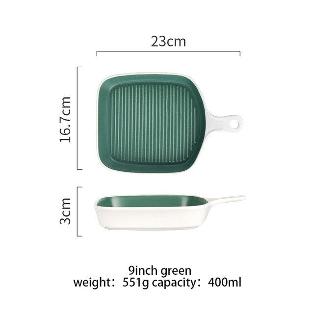 MONAZONE Square Ceramic Baking Pan Bakeware Non-Stick Roasting Lasagna Pan Baking Tray Dish Single Hand Oven Salad Plate