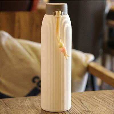 400ml Creative Silicone Case Glass Water Bottle Drop Resistant Heat-resistant Fashion Portable Outdoor Sports Drinkware Tour