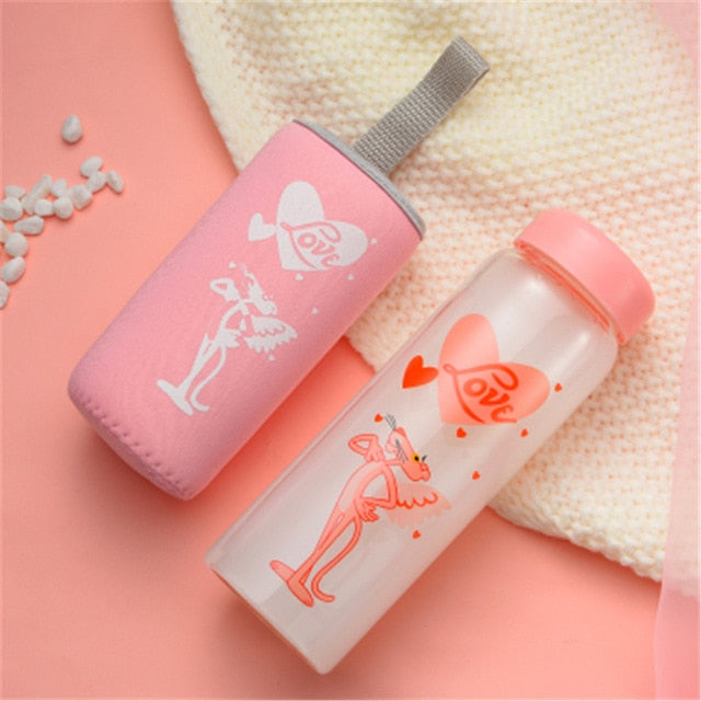 450ml Glass Drink Bottle Cute Cartoon Pink Panther Water Bottles with Insulated Cover Minimalist Milk Coffee Drinkware