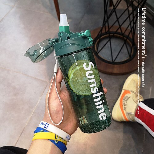 Portable Plastic Water Bottle Clear Gym Simple Straw Sport Water Bottle Eco Friendly Drink Butelka Na Wode Drinkware DE50SP