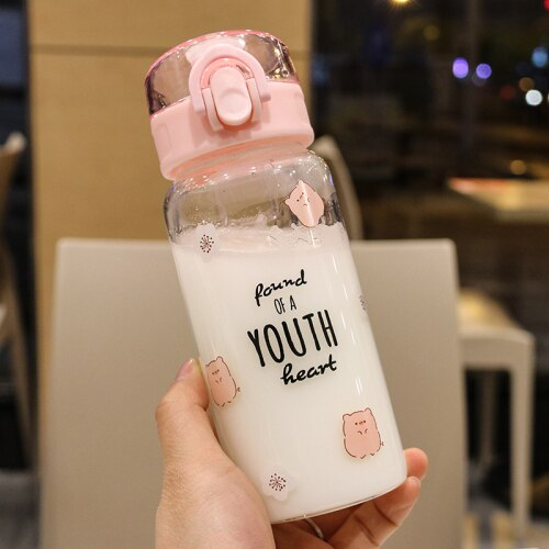 Cartoon Simple Glass Water Bottle Cute Kawaii Stylish Tea Water Bottle Portable Eco Friendly Botellas De Agua Drinkware AD50WB