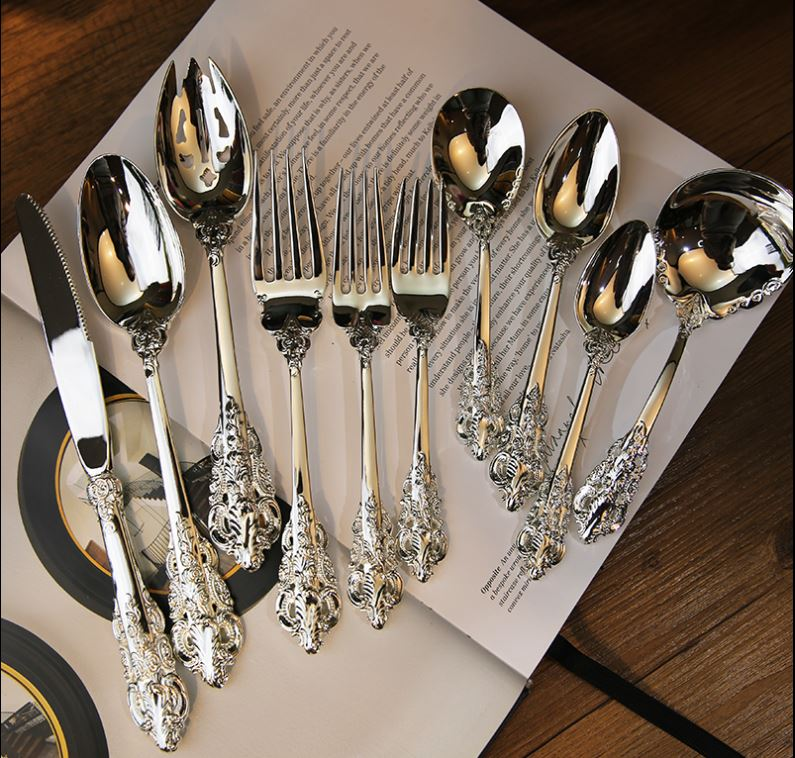High quality 10pcs/set Tableware Set Silver plated  Cutlery Set Western Food Tableware Luxury Fork Teaspoon Knife Set BB50CJ