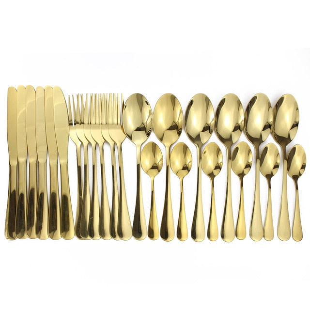 16pcs Shiny Cutlery Sets Wedding Tableware Silverware Travel Cutlery Set Copper Rosy Forks Knives Spoons