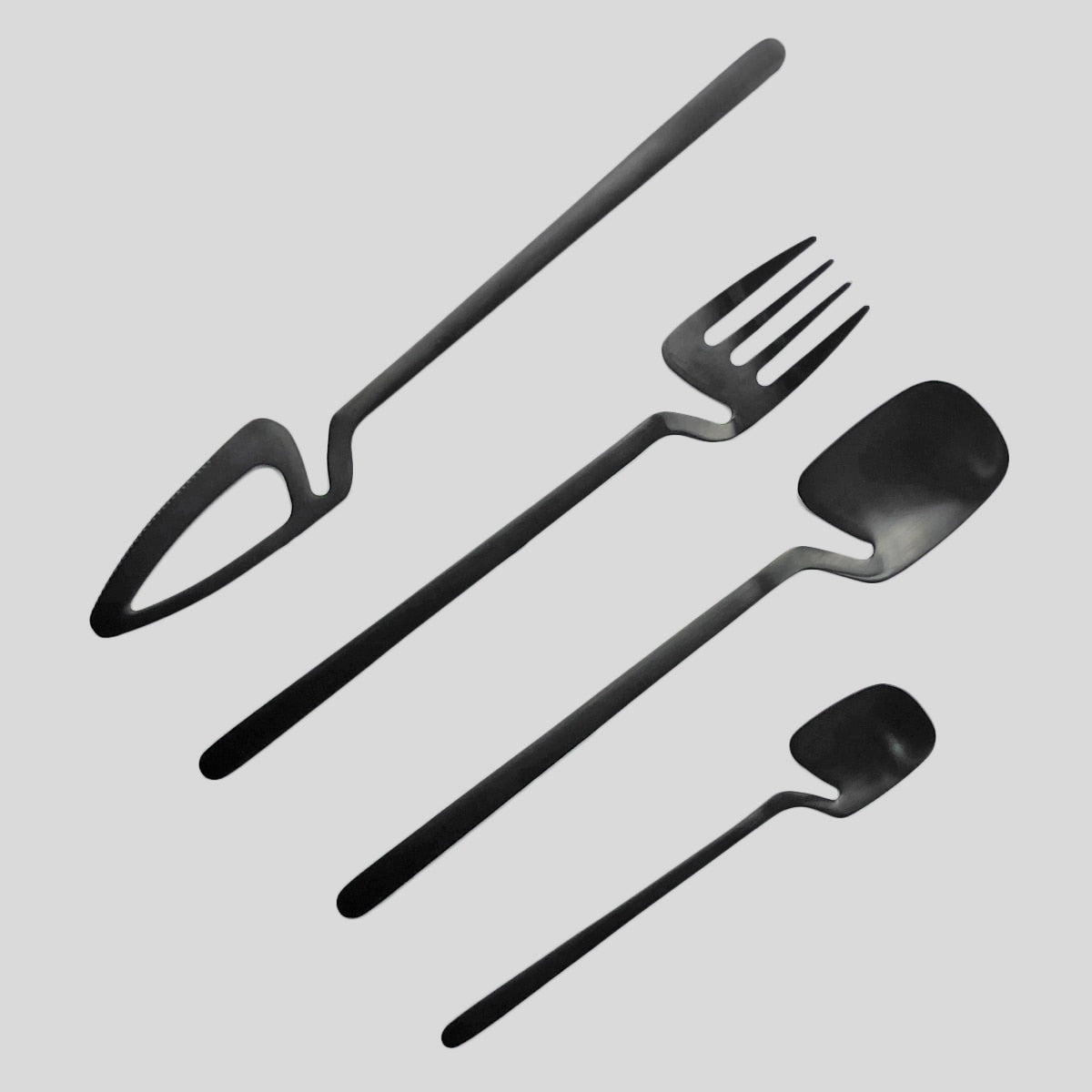 24Pcs Black Cutlery Set Knife Fork Coffee Tea Spoon Dinnerware Set Matte 18/10 Stainless Steel Tableware Western Flatware Set