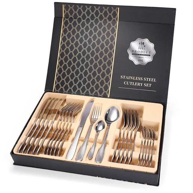 Stainless Steel Dinnerware Cutlery Set Tableware Include Knife Fork Spoon Dishwasher Safe with Nice Gift Box